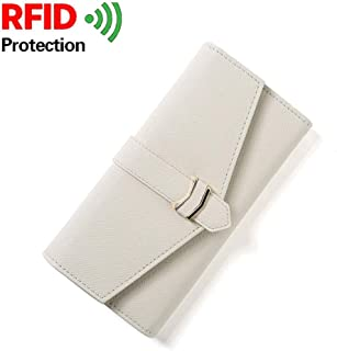 PSEEHEE Women Trifold Wallet RFID Blocking with Phone Clutch, Long Vegan Leather Wallet Card Holder Coin Pocket ID Window