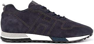 Luxury Fashion   Hogan Men HXM4820CM30I9SU801 Blue Suede Sneakers   Spring-summer 20