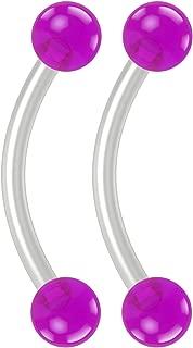 Bling Piercing 2pc 16g Flexible Bioflex Curved Barbell 3mm Transparent Acrylic Ball Bioplast JCurve Bent Banana Bar