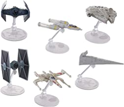 Hot Wheels Star Wars 6 Pack Starships for Star Wars Gifts: Star Wars Toys with Stands Include Millennium Falcon, X Wing, Y Wing, Tie Fighter, Darth Vader Tie Advanced, Star Destroyer