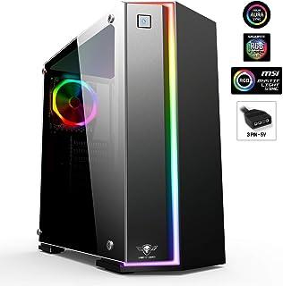 Spirit Of Gamer - Clone One - ATX Tower - RGB Fan Gaming Box MSI Aura/Mystic/Fusion Compatible - 100% Pared De Vidrio Templado - 10 Modos De Retroiluminación Y 60 Efectos De Luz
