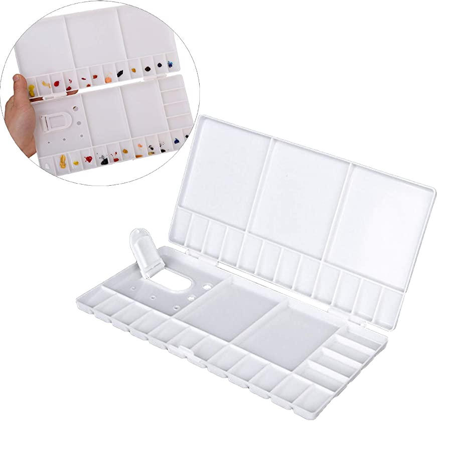 StyleZ 33 Wells Compartments Watercolor Paint Palette Folding Paint Tray with Thumbhole and Brush Holder for Watercolor,Gouache and Oil Paint