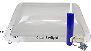 Class A Customs Premium Heavy Duty RV Camper Trailer Skylight - 18 x 26 OD / 14 x 22 ID Clear - Install Kit PCS