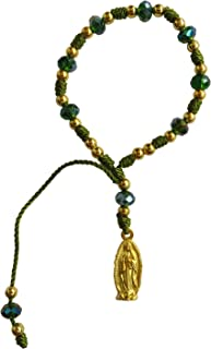 Green Thread with Cristal Beads Our Lady of Guadalupe Bracelet Pulsera De La Virgen De Guadalupe