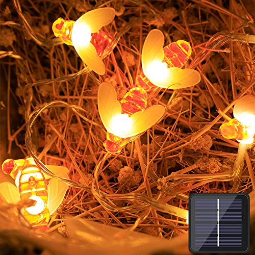 LIANJIE Luces De Cadena De Abejas Solares, Luces Led De JardíN De Cuento De Hadas, 8 Modos, Luces De DecoracióN De Fiesta De Navidad Impermeables para Interiores Y Exteriores (Luz Blanca CáLida),6.5M