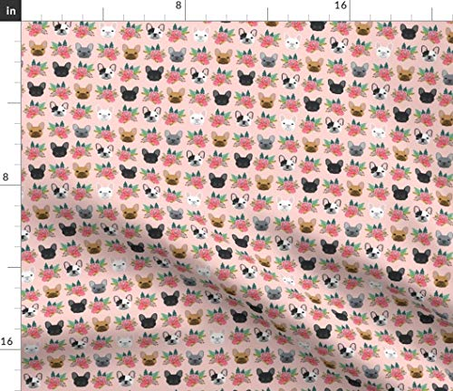 Spoonflower Fabric - French Bulldog Flowers Florals Frenchies Dog Girls Baby Nursery Sweet Printed on Fleece Fabric by The Yard - Sewing Blankets Loungewear and No-Sew Projects