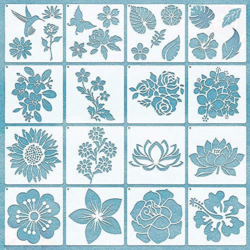 Plantillas de Pintura de Flores,BKJJ 20 Plantillas de Flores Plantilla,Plantillas Reutilizables, Pintar Carteles de...
