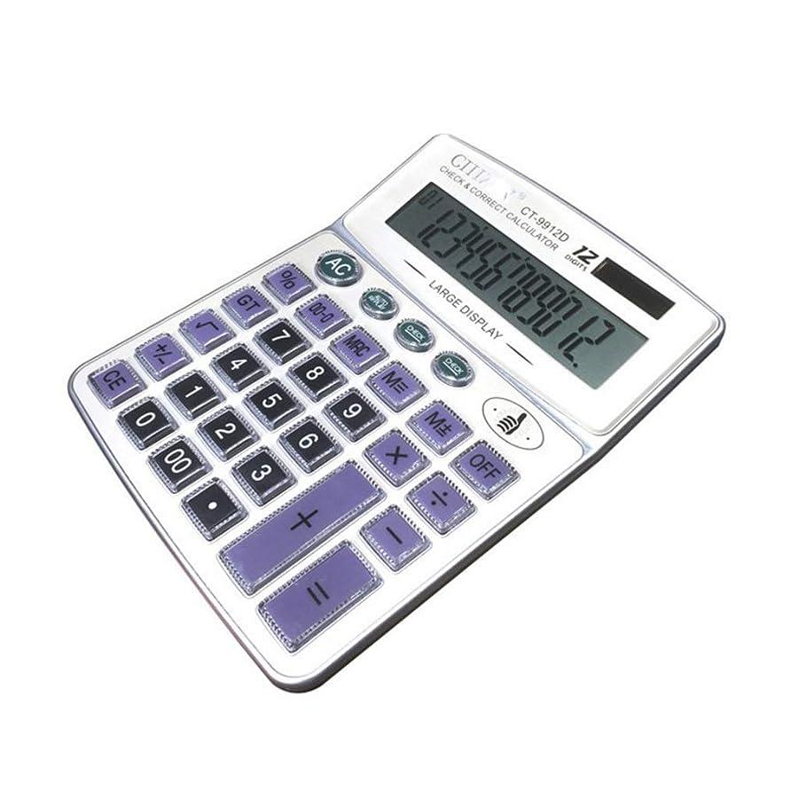 世界的に世界的に学校教育ソーラー電卓 - クリスタルボタン大型デスクトップコンピューター12ビットディスプレイ、オフィスビジネスサイエンス財務会計