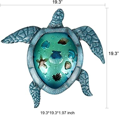 Liffy Metal Turtle Outdoor Wall Decor Beach Hanging Art Blue Glass Sea Sculpture for Patio, Pool or Bathroom