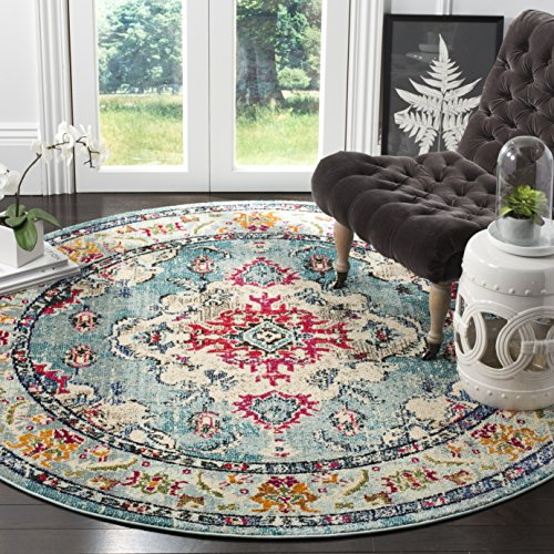 Safavieh Monaco Collection MNC243F Bohemian Chic Medallion Distressed Area Rug, 3' Round, Light Blue/Fuchsia