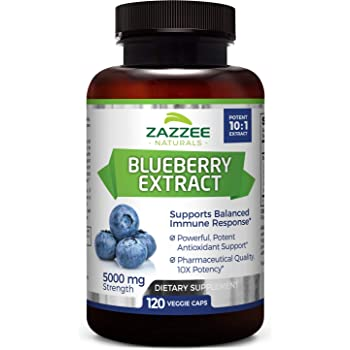 Zazzee Whole Fruit Blueberry Extract, 5000 mg Strength, 120 Veggie Capsules, Potent 10:1 Extract, 4 Month Supply, Vegan, All-Natural and Non-GMO