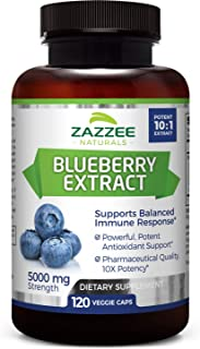 Zazzee Whole Fruit Blueberry Extract, 5000 mg Strength, 120 Veggie Capsules, Potent 10:1 Extract, 4 Month S...