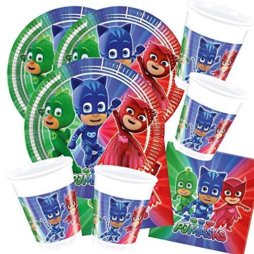 52-teiliges Party-Set PJ Mask Pyjamahelden - Party - Teller Becher Servietten für 16 Kinder