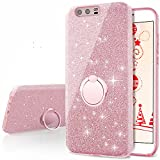 Huawei P10 Plus Case, Silverback Girls Bling Glitter Sparkle Cute Phone Case with 360 Rotating Ring Stand, Soft TPU Outer Cover + Hard PC Inner Shell Skin for Huawei P10 Plus -Rose Gold