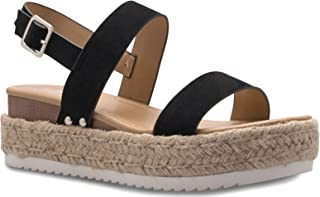 Olivia K Women's Platform Ankle Strap Buckle Sandal - Open Peep Toe Fashion Chunky Comfortable
