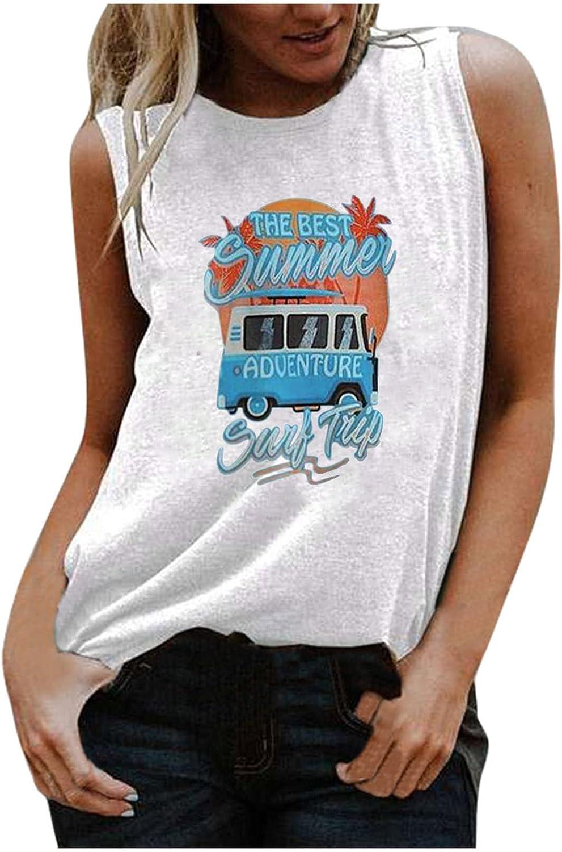 TARIENDY Womens Sleeveless Shirt Vintage Car Print Tank Top Round Neck Vest Casual Loose Blouse