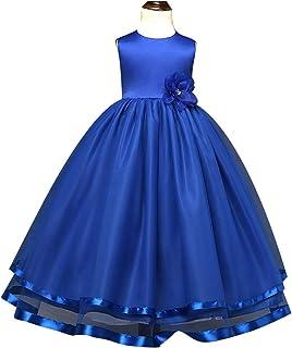 女の子ドレス ロング丈付きのウエスト 発表会ドレス 演奏会ドレス ふんわりシフォン 花嫁介添人ドレス ノースリーブ ガールズ結婚式ドレス