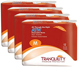 """Tranquility ATN Adult Disposable Briefs with All-Through-The-Night Protection, M (32""""-44"""") - 48 ct (Pack of 4)"""