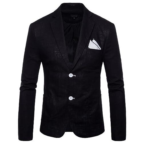 caab88392ea7 INVACHI Slim Fit Mens Casual Linen Two-Button Blazer Jacket Suit Jacket