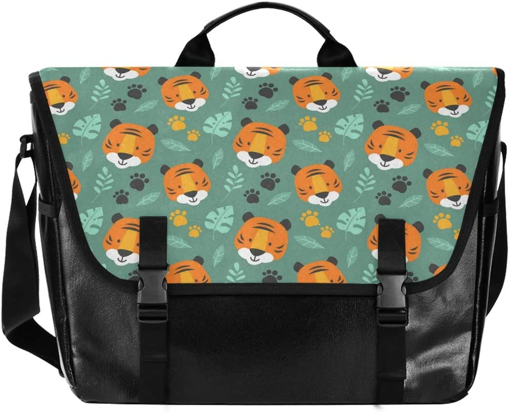 Messenger Bag - Cute Tiger Doodle Canvas Max Tampa Mall 52% OFF Leather Comp Waterproof