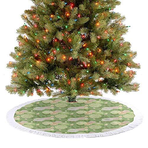 Homesonne Falda de árbol abstracta de colores pastel con flores y capullos románticos para primavera, jardín, Navidad, fiestas, decoraciones de Navidad, pistacho, verde, melocotón y blanco, 92 cm
