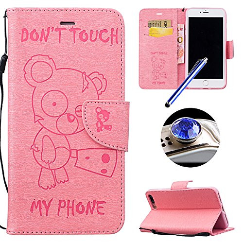 Etsue iPhone 7 Plus Cover,iPhone 7 Plus Custodia in Pelle Portafoglio Lusso Style Carina Lovely Orso Modello Artificiale Leather Pu...