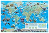 CoolOwlMaps World of the Dinosaurs Wall Map Poster - 36x24 Rolled Paper Kids Map