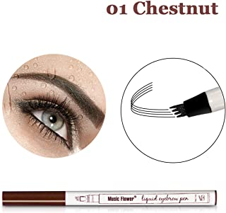 Vanelc Eyebrow Tattoo Pen Microblading Eyebrow Pencil Tattoo Brow Ink Pen a Micro-Fork Tip,Long Lasting,Smudge-Proof Natural Hair-Like Defined Brows and Stays on All Day (Chestnut)