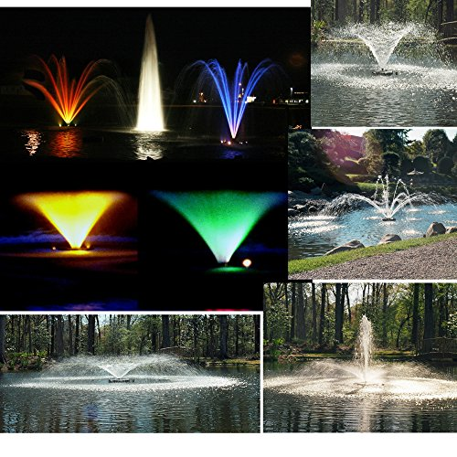 Kasco Marine Fountain + LED LIGHTING - 1 HP with 50ft Cord - 5 patterns & Light Kit Included - 4400JF50