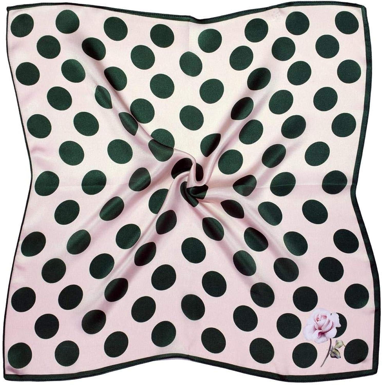 Green Cream Spots Thick Small Silk Square Scarf