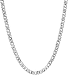 Men's 4mm Rhodium Plated Miami Cuban Link Curb Chain Necklace, 18
