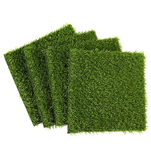 Juvale Artificial Grass Patch Synthetic Grass (12 x 0.25 x 12 in 4-Pack)