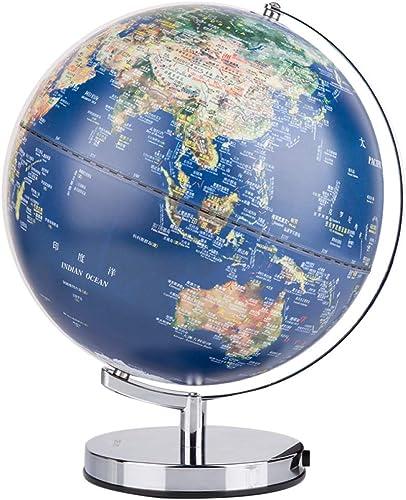 HAOLIN Globe Terrestre Globe à rougeation à 360 ° (diamètre 30cm) Décoration De Bureau Moderne avec Un Support en Métal pour La Géographie Destiné Aux étudiants