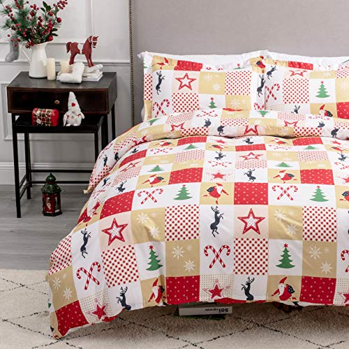 "Bedsure Christmas Duvet Cover Set, 3 Pieces Queen Size Comforter Cover Set 90""x90"", Super Soft New Year Holiday Bedding Set, Red with Green Patchwork"