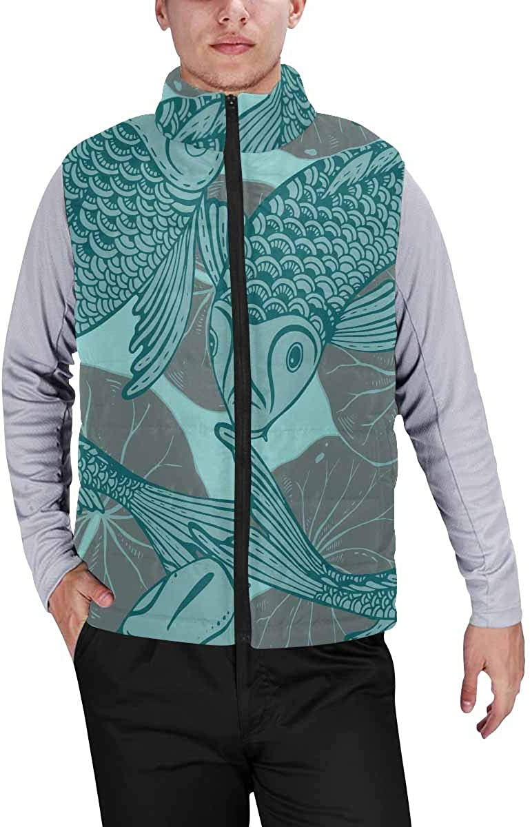 InterestPrint Men's Full-Zip Soft Warm Winter Outwear Vest Fish Blue
