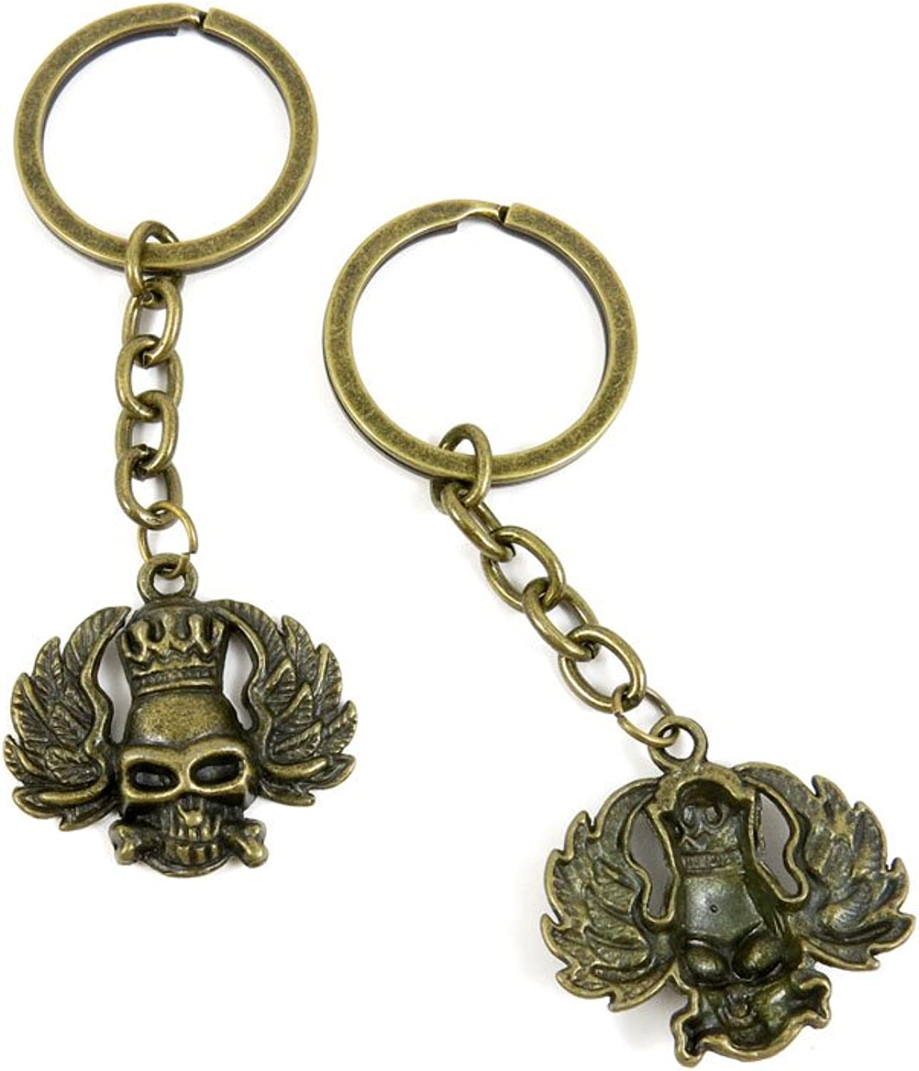 80 PCS Keyring Car Door Key Ring Tag Chain Keychain Wholesale Suppliers Charms Handmade H7AG3 King Skull