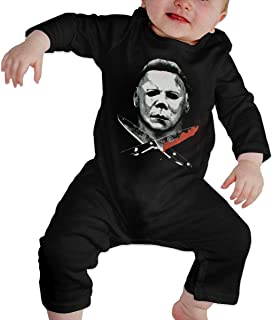 Hallo-ween Mich-ael Ma-yers with Knife Baby Boys Girls Jumpsuit Unisex Newborn Long Sleeve Romper Bodysuit One Piece Outfits