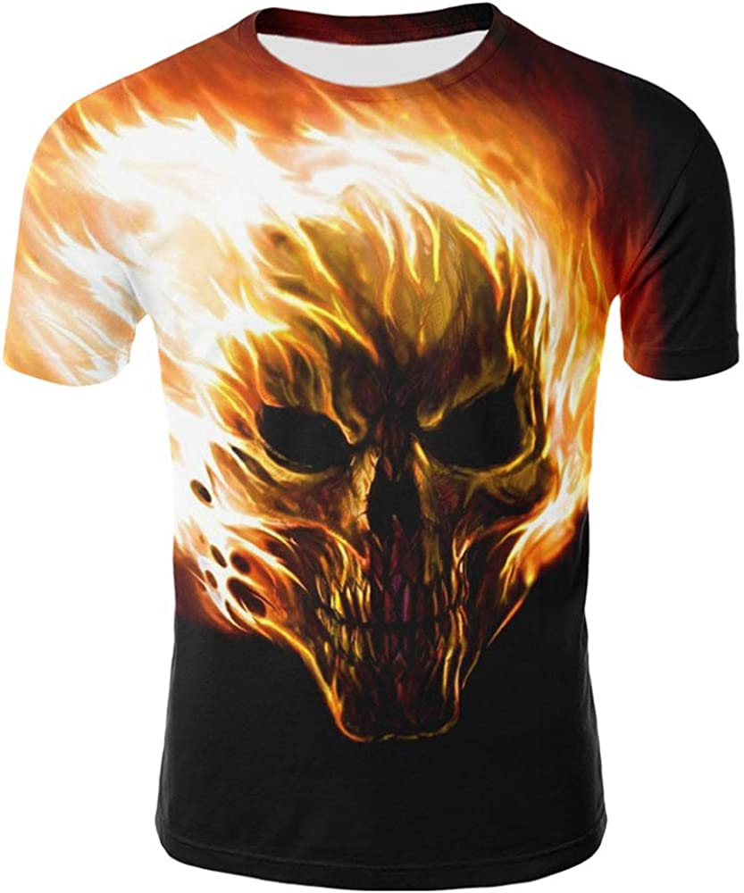 DIOMOR Fashion Plus Size 3D Skull Graphic Trendy Tee Shirts for Men Unique Funny Party Slim Fit Comfy Short Sleeve Tops
