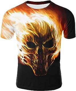 Mens Casual Skull 3D Printing Tees Shirt Short Sleeve Crewneck Pullover T-Shirt,S-4XL