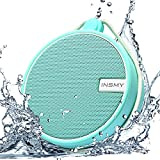 INSMY IPX7 Waterproof Shower Bluetooth Speaker, Portable Wireless Outdoor Speaker with HD Sound, Support TF Card, Suction Cup for Home, Pool, Beach, Boating, Hiking 12H Playtime (Mint)