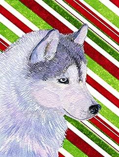 Caroline's Treasures SS4533CHF Siberian Husky Candy Cane Holiday Christmas Flag Canvas, Large, Multicolor