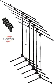 Telescoping Microphone Boom Stand with Mic Clip (Pack of 6) by Griffin | Tripod Premium Quality for Studio, Karaoke, Live Performances, Conferences | Portable with Collapsible Legs & Removable Arm