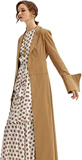 Coats Women's Lapel Coat, Spring Long-Sleeved Jacket, British Style Long Knee-Length Women's Trench Coat, Loose Shoulder Sleeves, (Color : Brown, Size : 165/88/L)