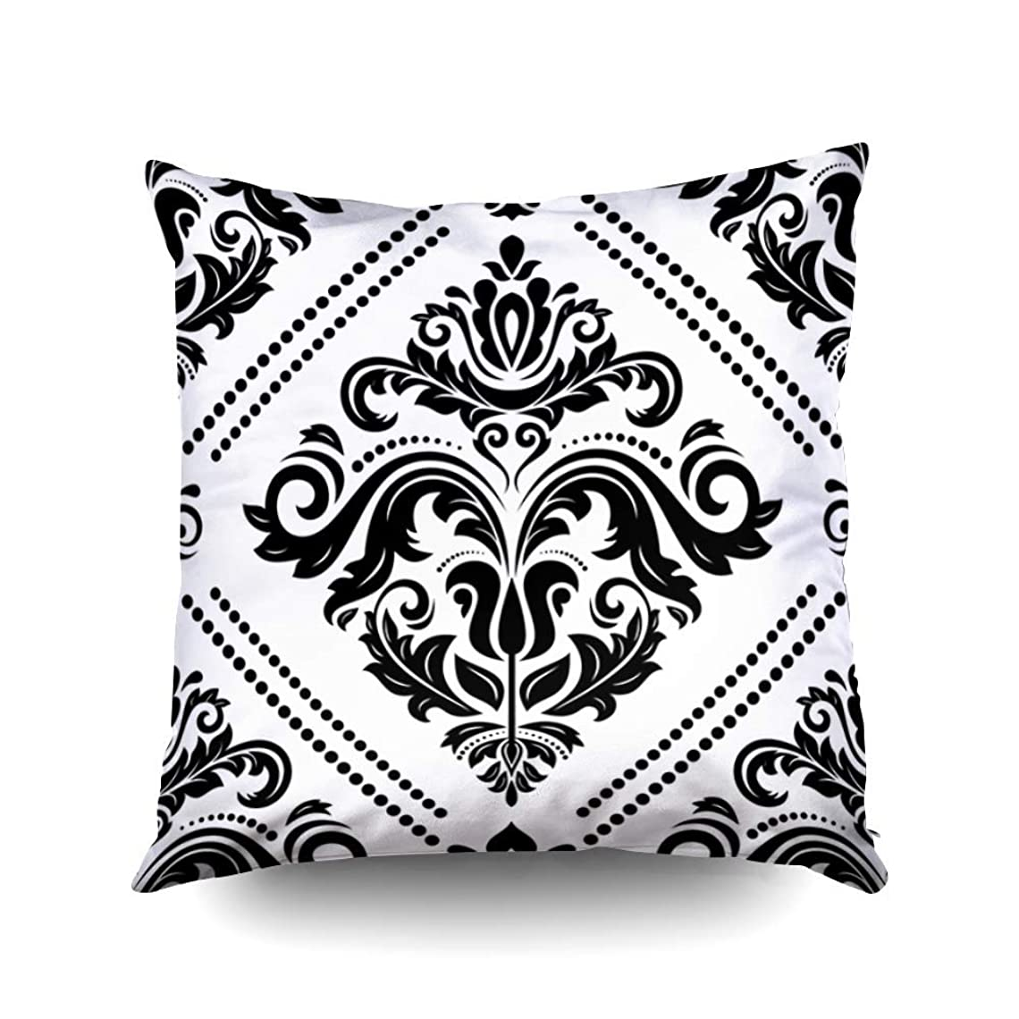 ライオン現在無駄スロースクエアピローケースカバー18×18インチ、ダマスククラシックブラックホワイトパターン両面印刷目に見えないジッパー家の装飾枕カバー