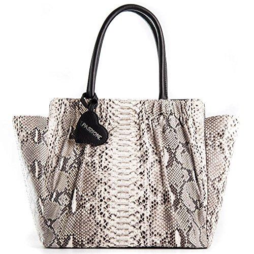 Passione Borsa Big Bon Bon Bags - Shopper da donna in vero pitone roccia a mano e spalla. Animalier Made in Italy