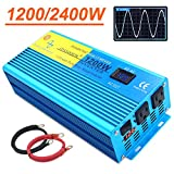 IpowerBingo Pure Sine Wave Power Inverter 1200W/2400W(Peak) 12V DC to 110 V AC with 2 AC Outlets 2 Battery Cables with LCD Display Car Boat Inverter