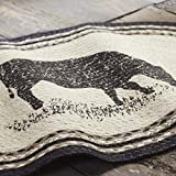 VHC Brands Farmhouse Flooring Miller Farm Charcoal Cow Jute Stenciled Nature Print Oval Rug, One Size, Bleached White