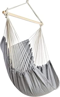 Chihee Hammock Chair Large Hammock Chair Relax Hanging Swing Chair Cotton Weave for Superior Comfort Durability Perfect for Indoor/Outdoor Home Bedroom Patio Deck Yard Garden