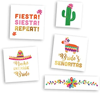 BACHELORETTE FIESTA VARIETY SET includes 27 assorted premium waterproof metallic gold temporary foil party tattoos - party supplies, bride, cactus, fiesta, wedding, bachelorette