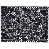Amajoy Tapiz blanco y negro para colgar en la pared Hippie Tarot Card Tapiz Bohemio Sol y luna Tapiz de pared para dormitorio Sala de estar Dormitorio 12 Constelación Tapiz (150x200 CM)